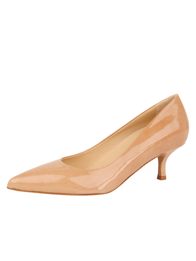 Womens Nude Patent Softly Pointed Toe Pump