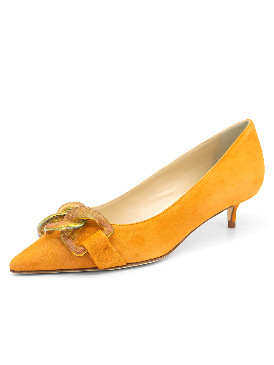 Womens Orange Bimmi Pointed Toe Kitten Heel