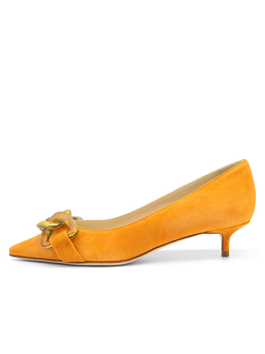 Womens Orange Bimmi Pointed Toe Kitten Heel 7