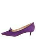 Womens Purple Suede Brusca Pointed Toe Kitten Heel 7