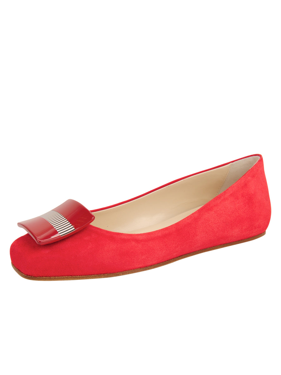 Womens Red Suede Cain Square Toe Flat