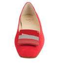 Womens Red Suede Cain Square Toe Flat 4
