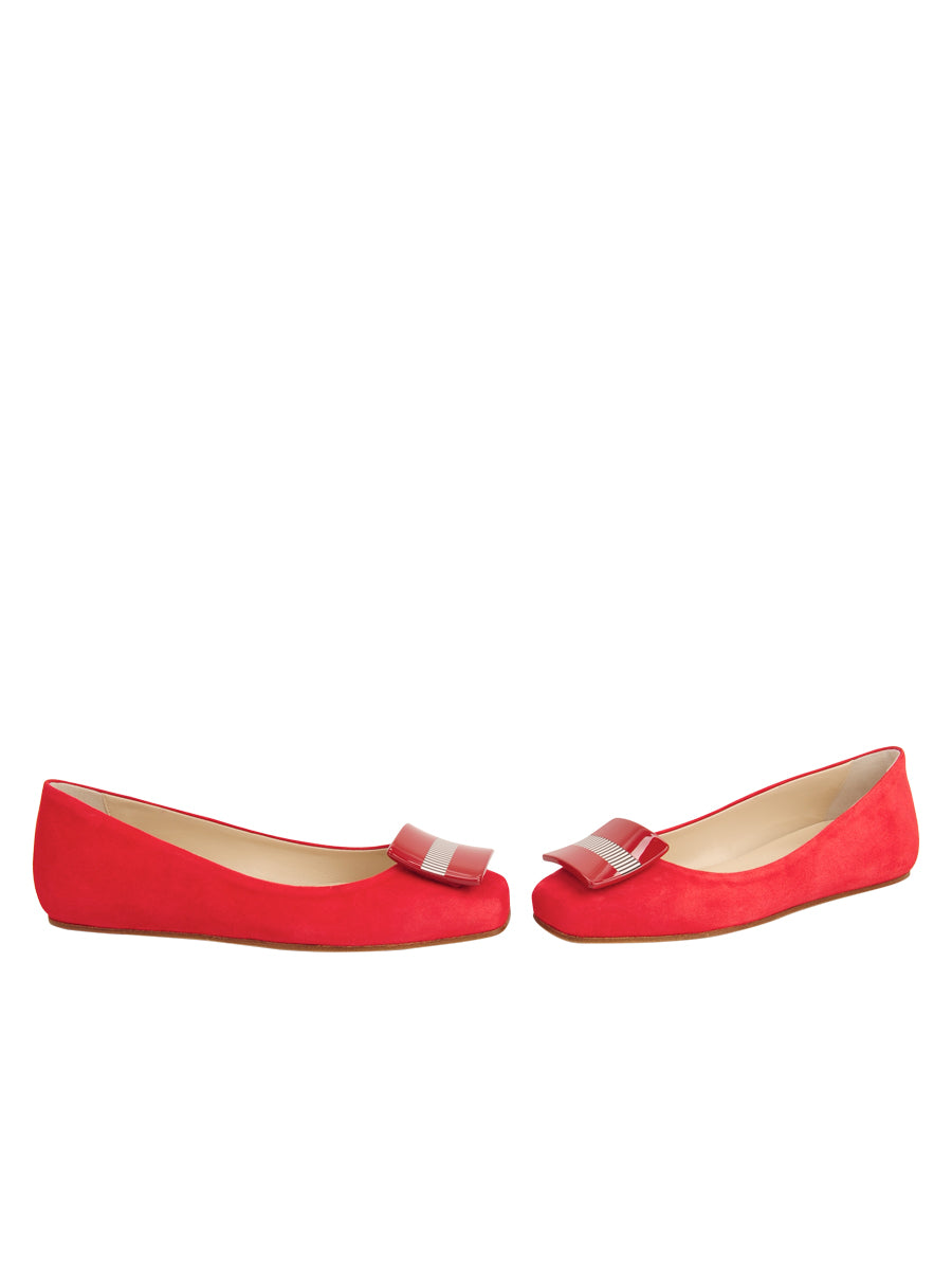Womens Red Suede Cain Square Toe Flat 5
