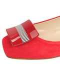 Womens Red Suede Cain Square Toe Flat 6