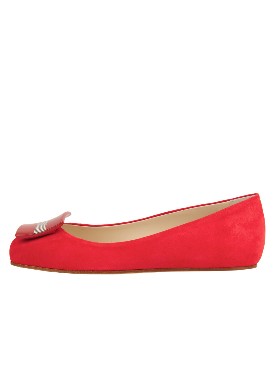 Womens Red Suede Cain Square Toe Flat 7