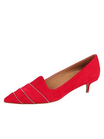 Womens Red Suede Bayley Pointed Toe Kitten Heel