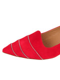 Womens Red Suede Bayley Pointed Toe Kitten Heel 6