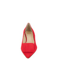 Womens Red Suede Beleney Pointed Toe Kitten Heel 4