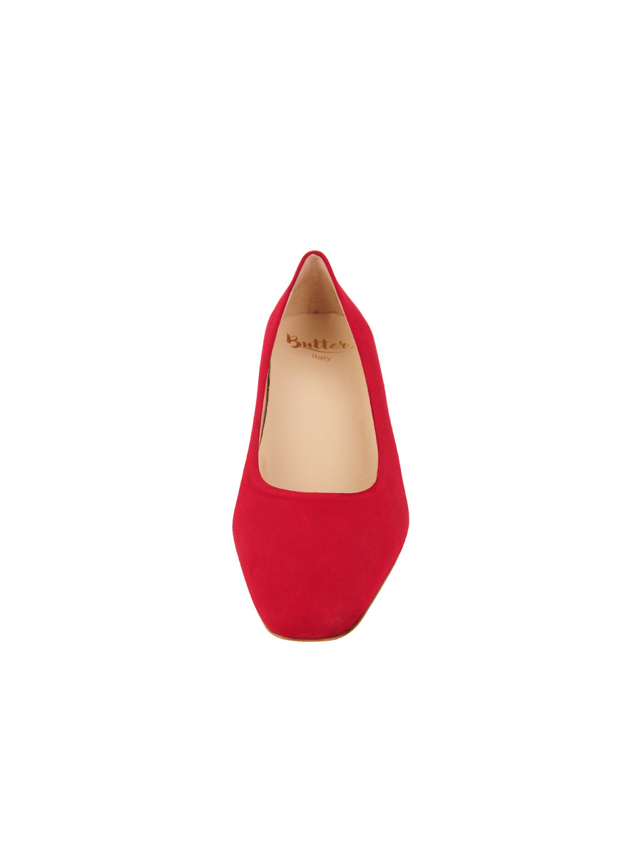 Womens Red Suede Novella Block Heeled Pump 4