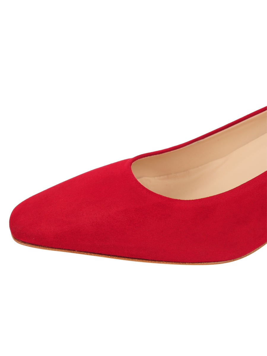 Womens Red Suede Novella Block Heeled Pump 6