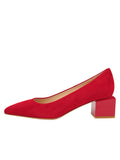 Womens Red Suede Novella Block Heeled Pump 7