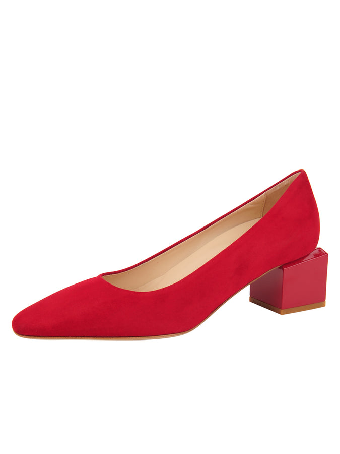 Womens Red Suede Novella Block Heeled Pump