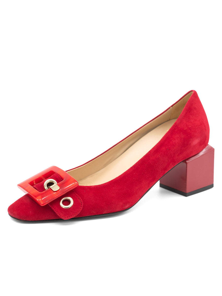 Womens Red Suede Nuri Block Heeled Pump