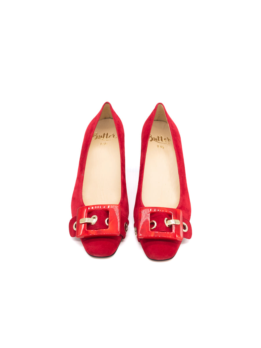 Womens Red Suede Nuri Block Heeled Pump 5