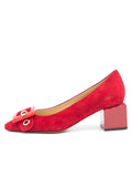 Womens Red Suede Nuri Block Heeled Pump 7