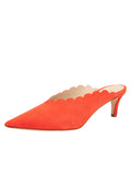 Womens Tangerine Suede Niki Scalloped Mule