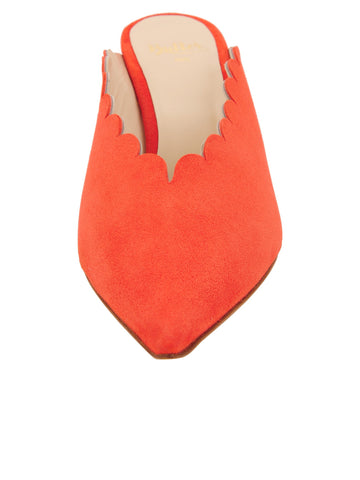 Womens Tangerine Suede Niki Scalloped Mule 4 Alternate View