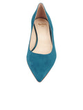 Womens Teal Suede Born Pointed Toe Kitten Heel 4