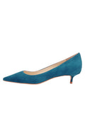 Womens Teal Suede Born Pointed Toe Kitten Heel 7