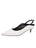 Womens White Leather Brook Slingback Kitten Heel