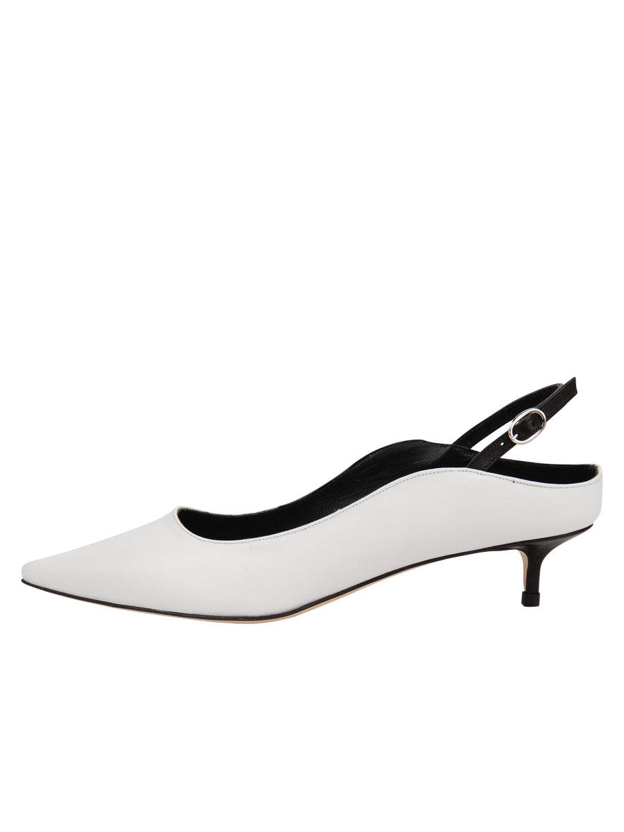 Womens White Leather Brook Slingback Kitten Heel 7
