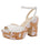 Womens White Leather Udele Platform Sandal
