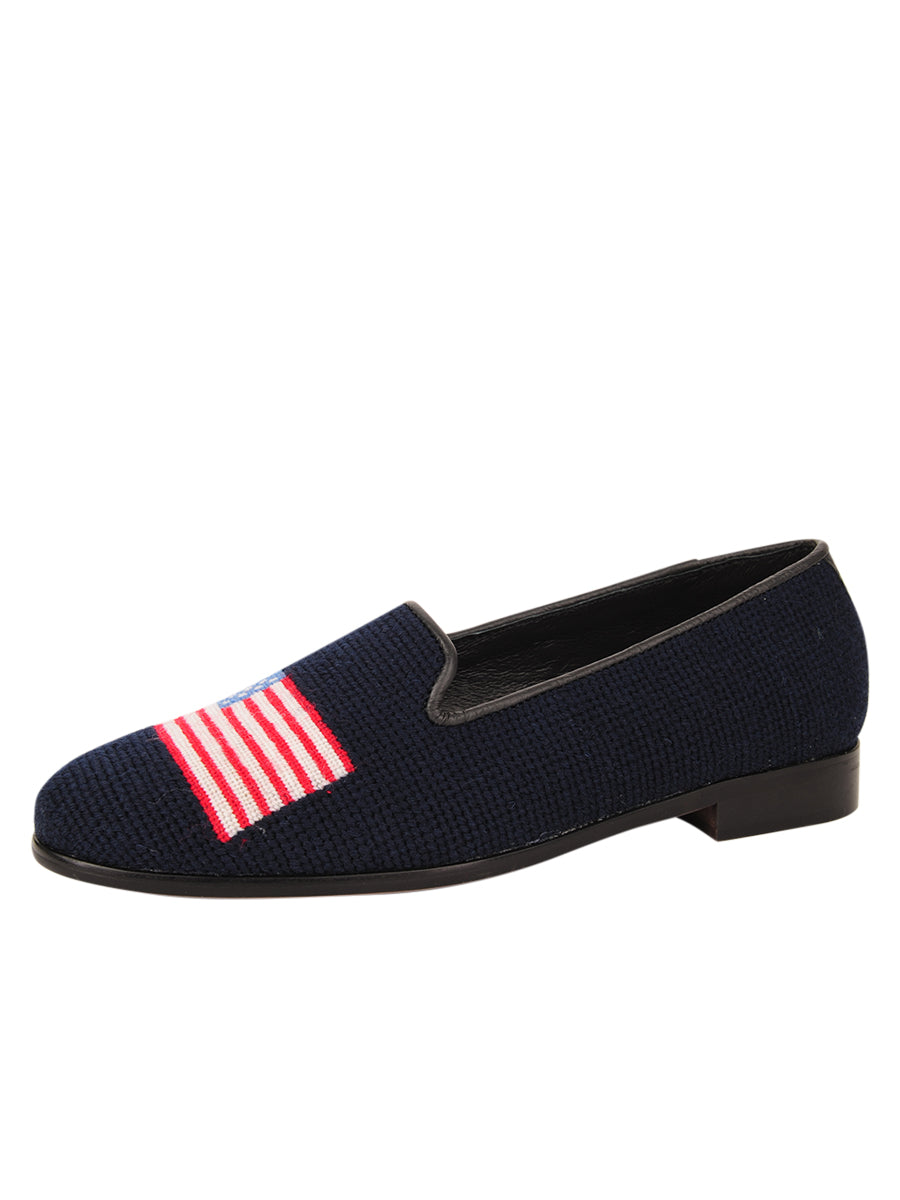Womens American Flag on Navy Needlepoint Loafer 2