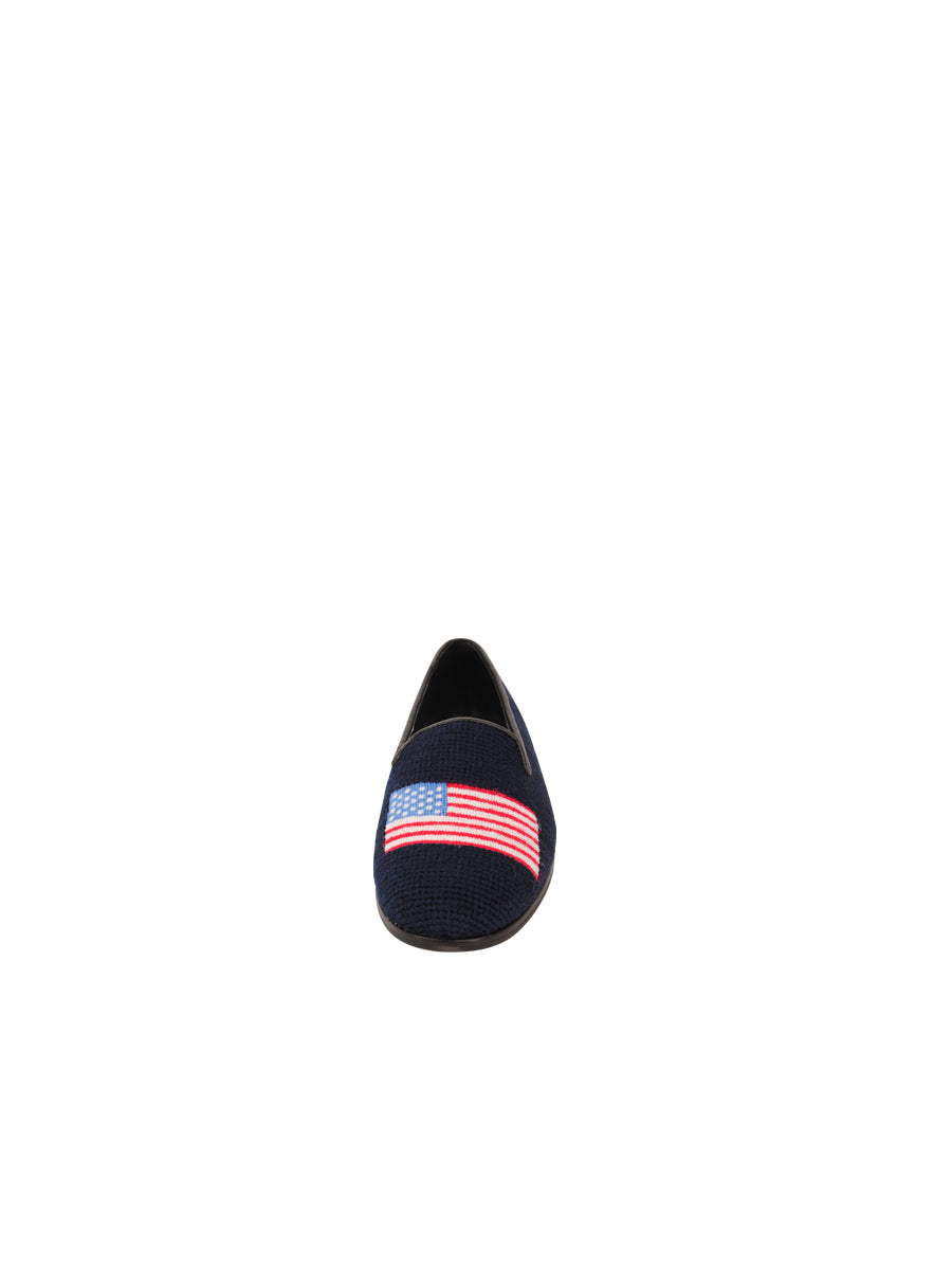 Womens American Flag on Navy Needlepoint Loafer 4