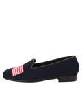 Womens American Flag on Navy Needlepoint Loafer 6