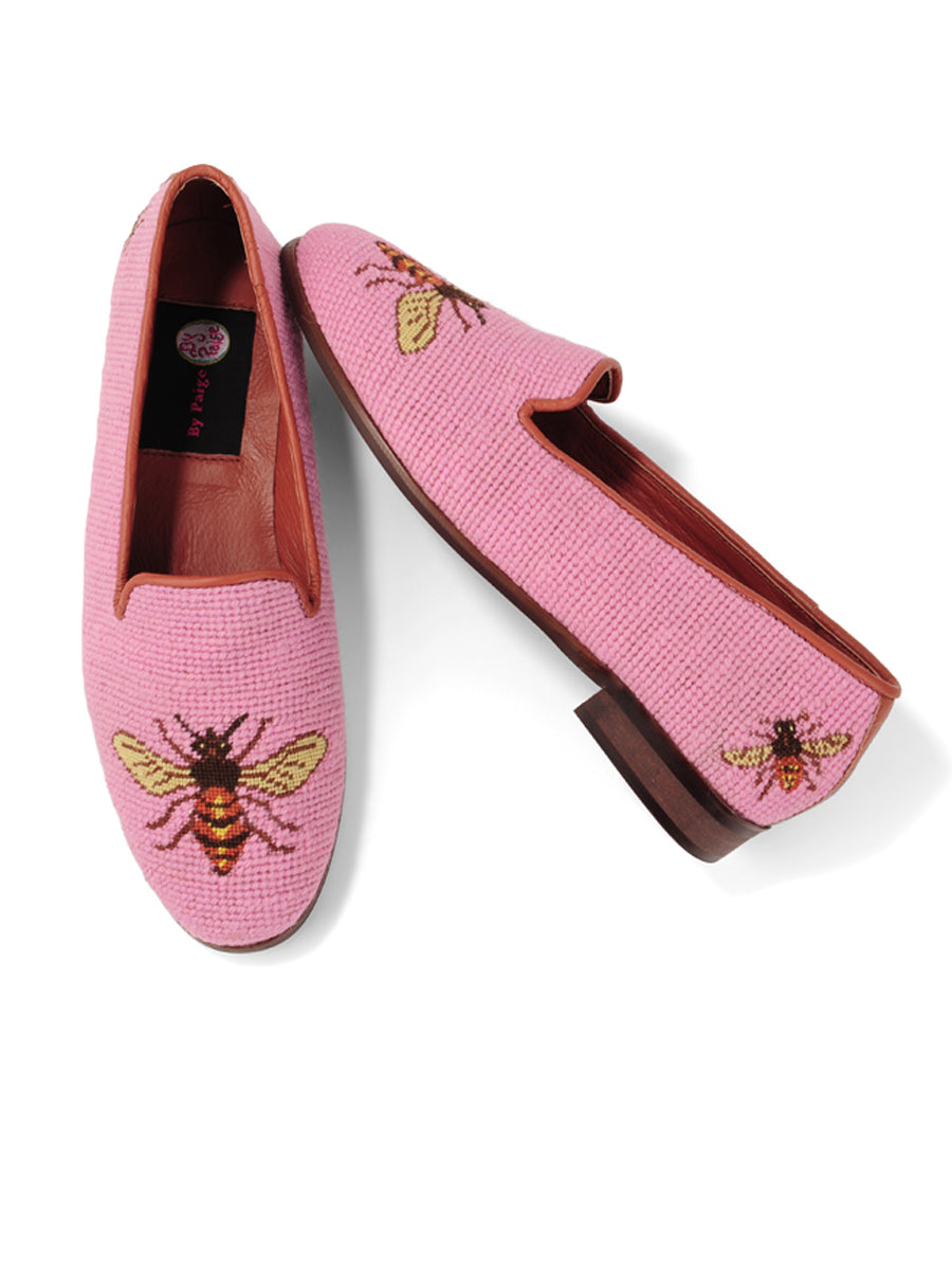 Womens Bee on Shrimp Pink Needlepoint Loafer