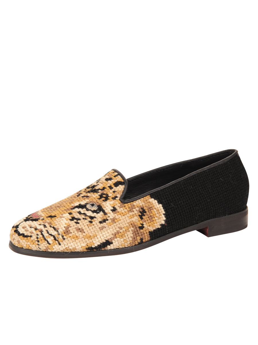 Womens Big Cat on Black Needlepoint Loafer 2