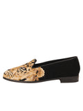 Womens Big Cat on Black Needlepoint Loafer 6