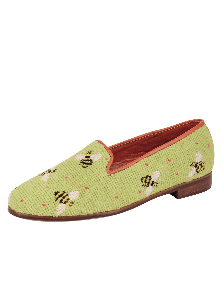 Womens Bumblebees on Lime Needlepoint Loafer 7
