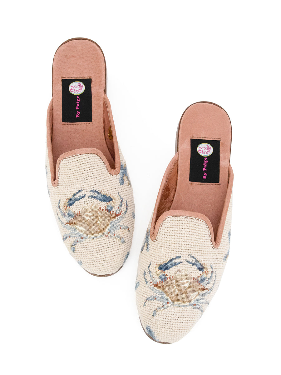 Womens Crab on Tan with Blue Coral Loafer Needlepoint Mule