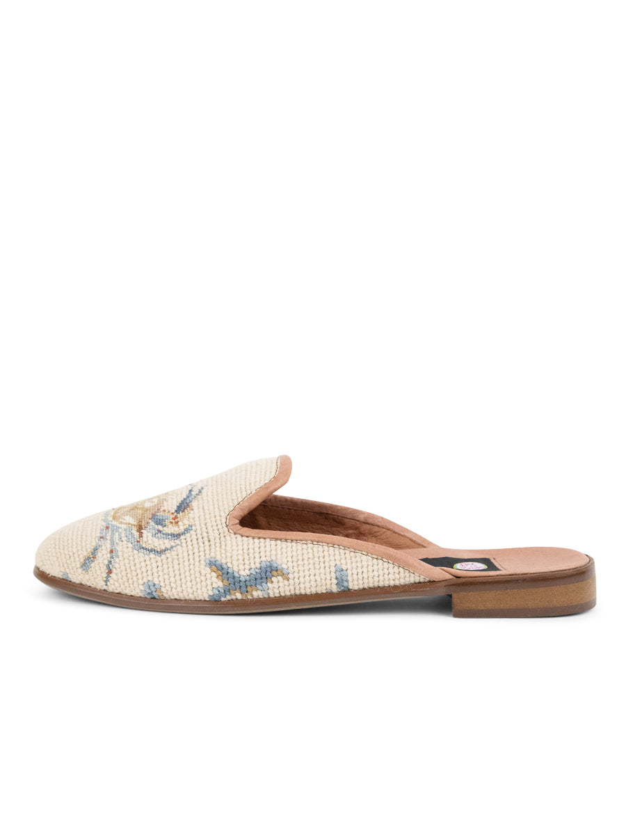 Womens Crab on Tan with Blue Coral Loafer Needlepoint Mule 2