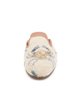 Womens Crab on Tan with Blue Coral Loafer Needlepoint Mule 4