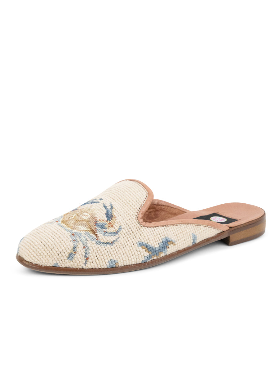 Womens Crab on Tan with Blue Coral Loafer Needlepoint Mule 5