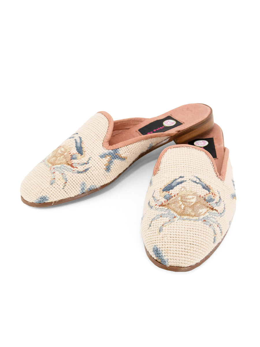 Womens Crab on Tan with Blue Coral Loafer Needlepoint Mule 7