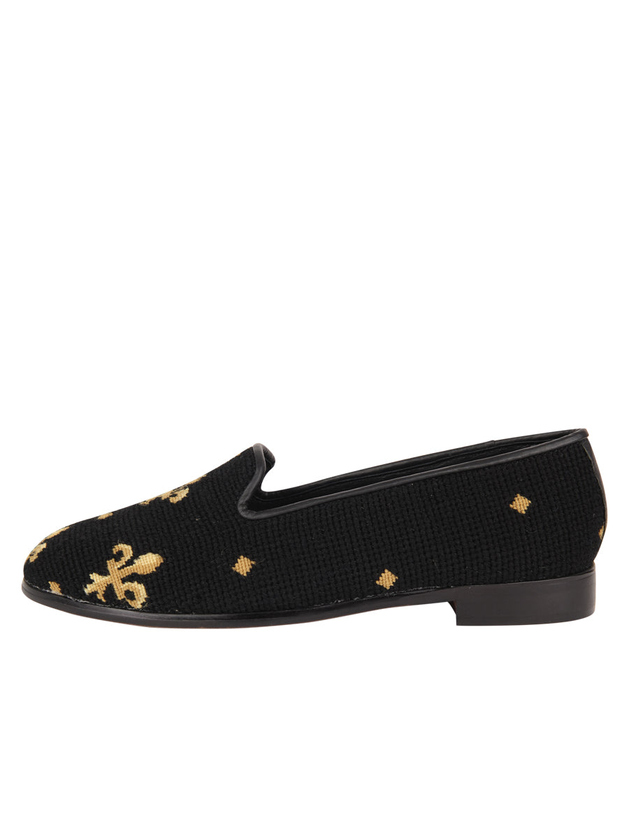 Womens Fleur de Lis - Black Needlepoint Loafer 6