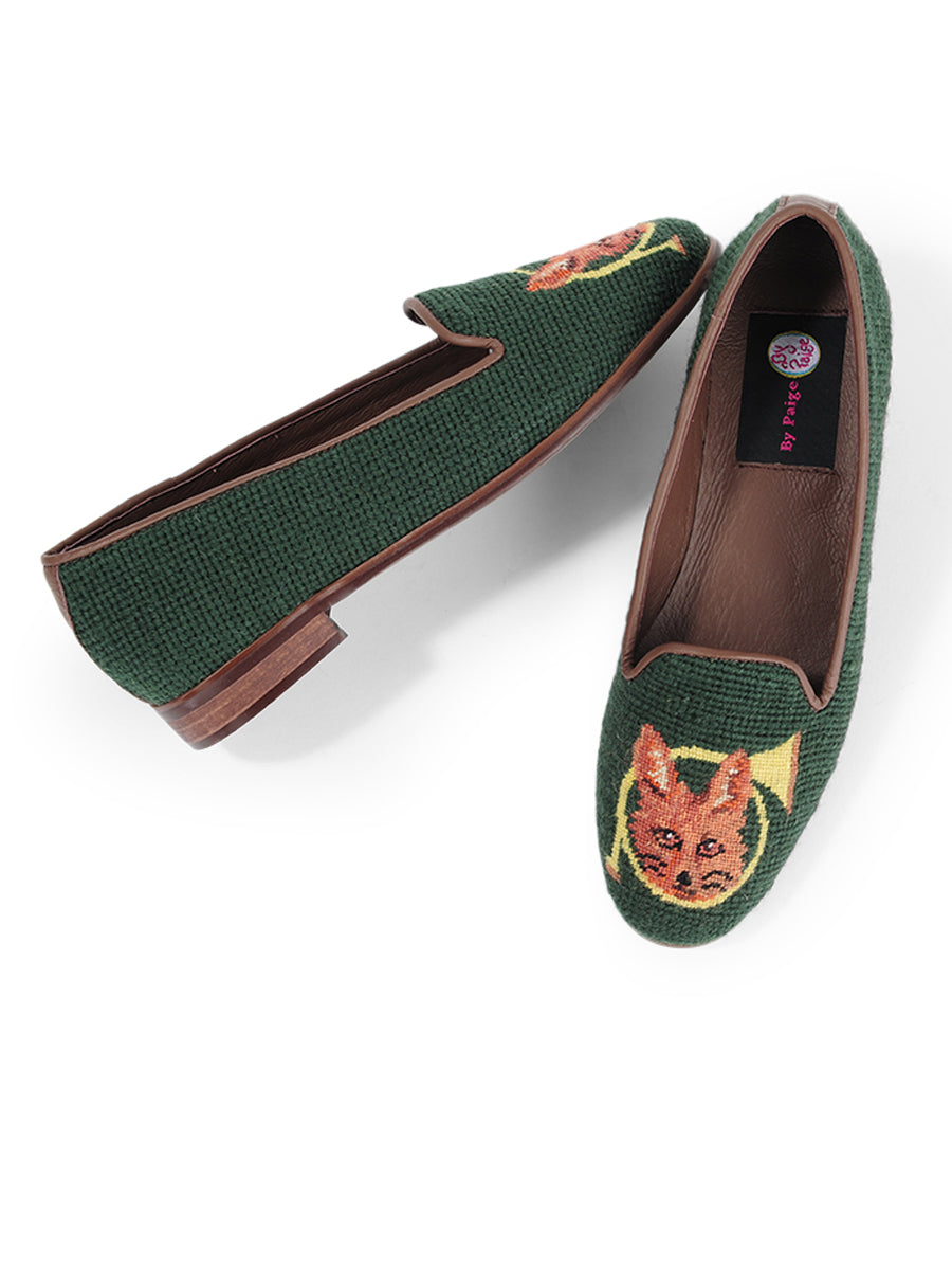 Womens Fox and Horn - Forest Green Needlepoint Loafer