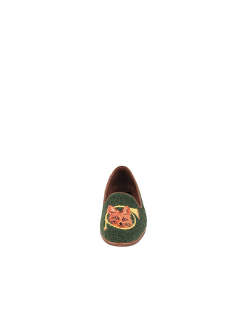 Womens Fox and Horn - Forest Green Needlepoint Loafer 4 Alternate View
