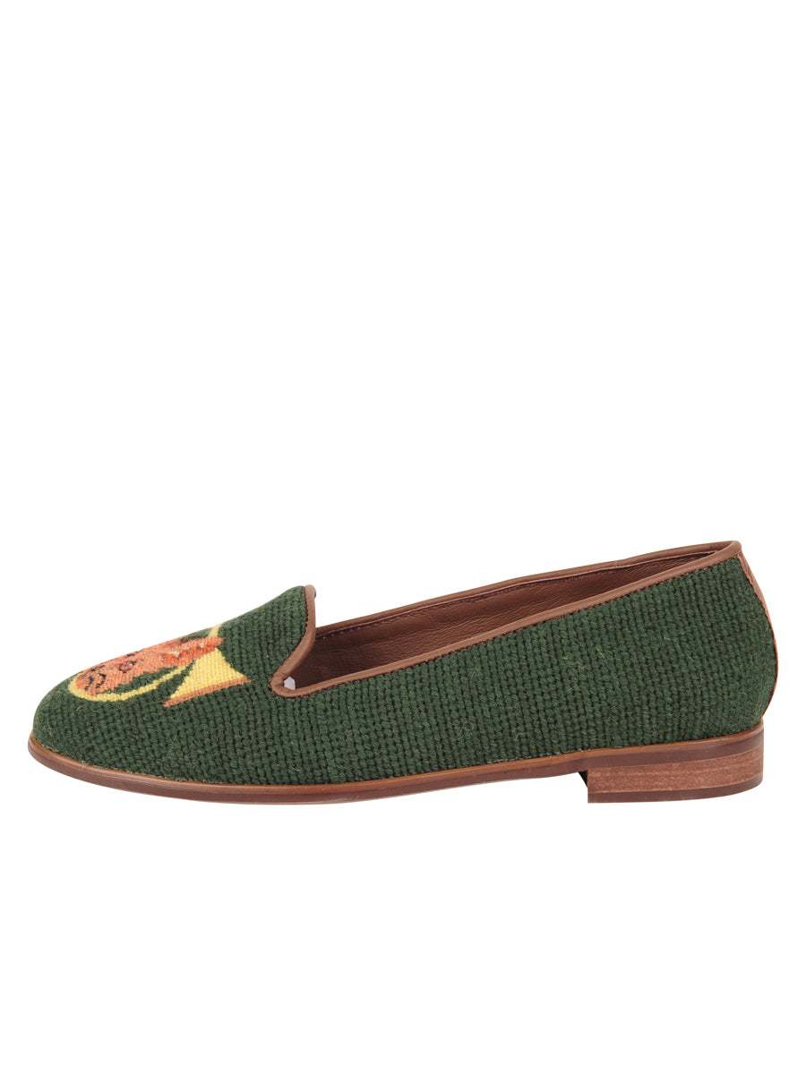 Womens Fox and Horn - Forest Green Needlepoint Loafer 6