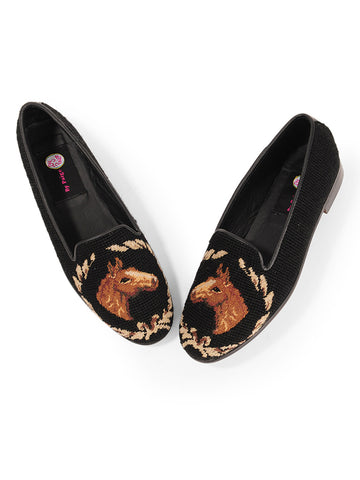 Womens Horse and Wreath - Black Needlepoint Loafer