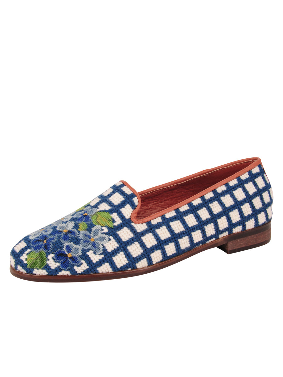 Womens Hydrangea Blue Needlepoint Loafer