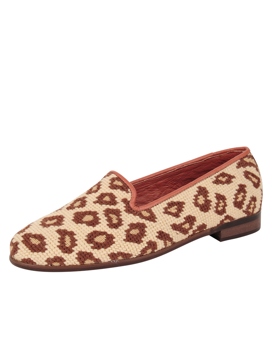 Womens Leopard on Tan Leather Needlepoint Loafer