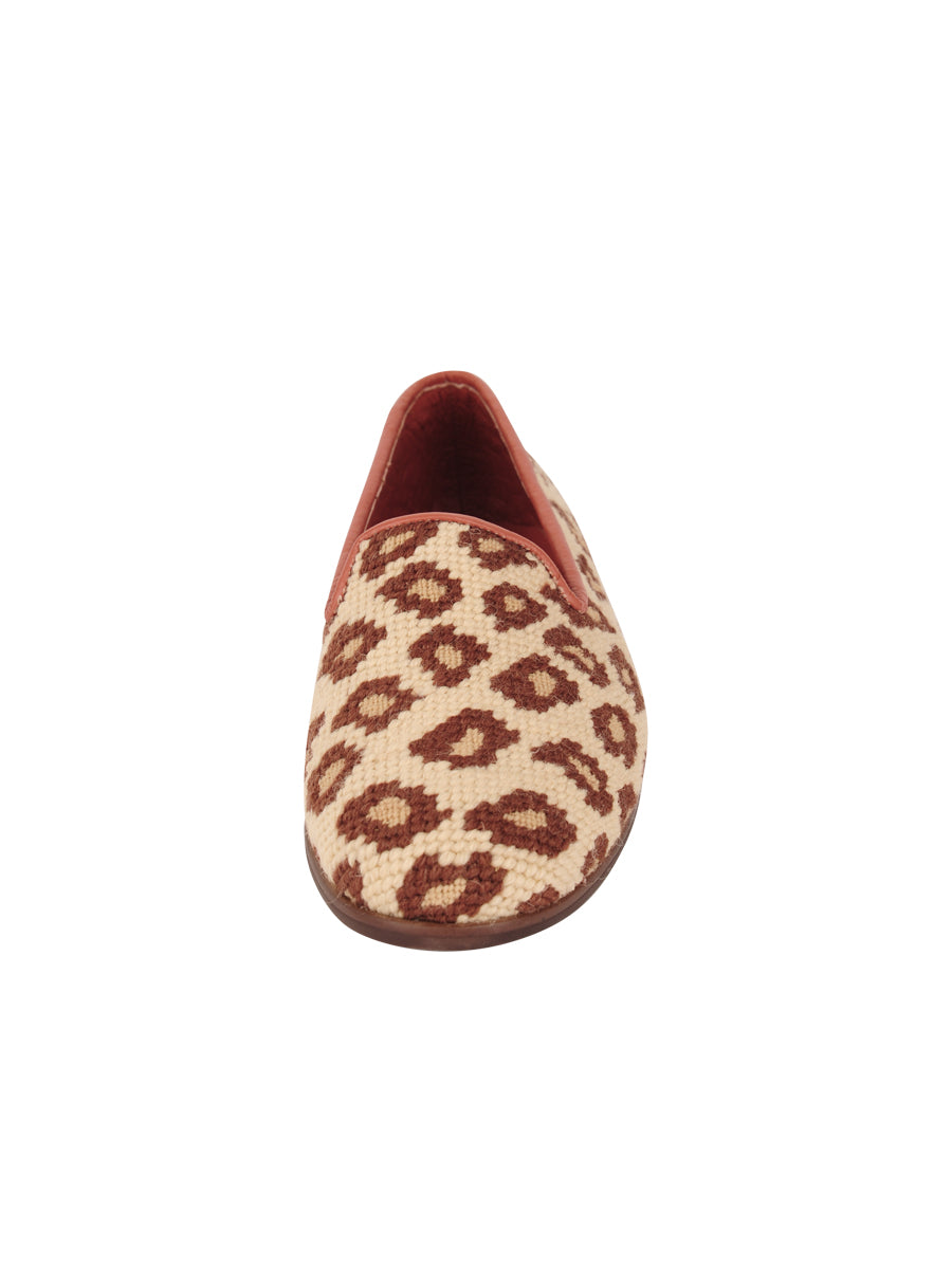 Womens Leopard on Tan Leather Needlepoint Loafer 4