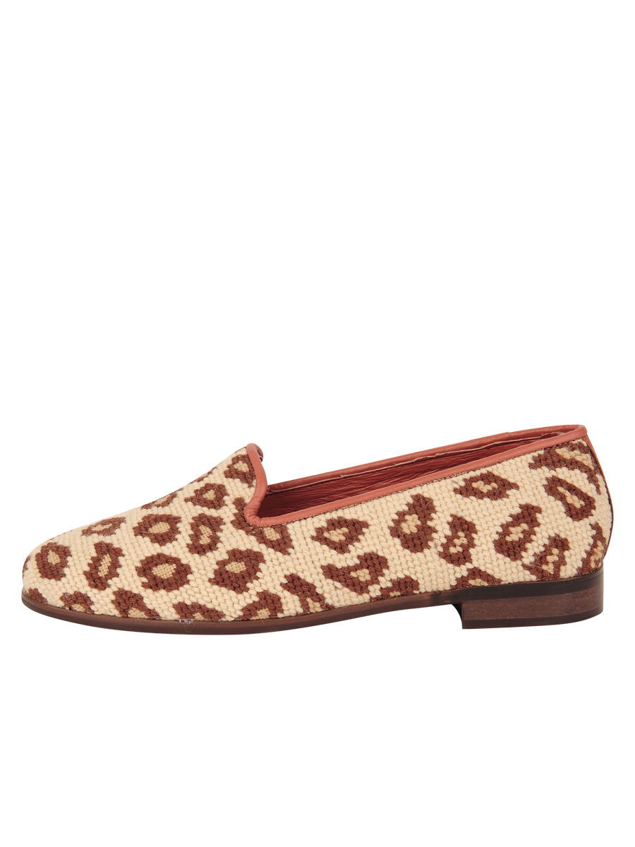 Womens Leopard on Tan Leather Needlepoint Loafer 6