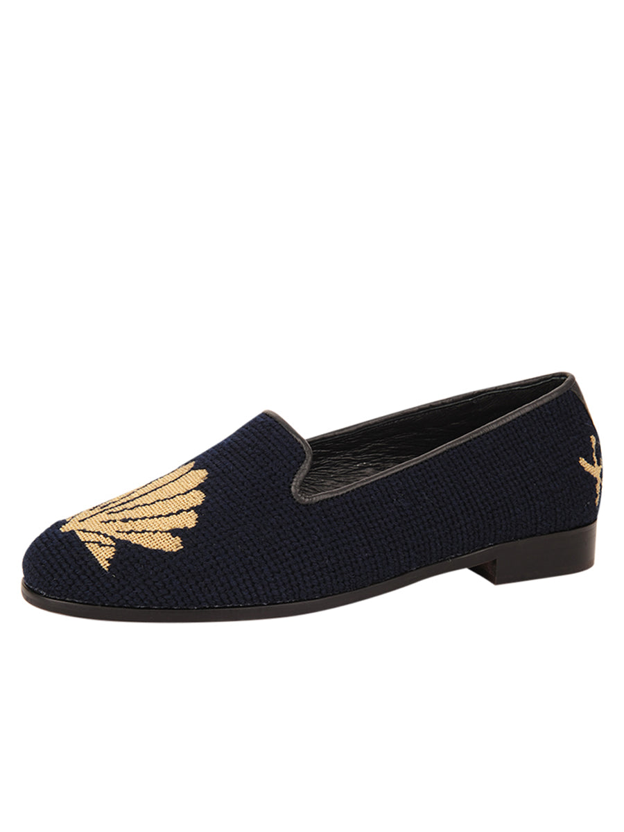 Womens Metallic Gold Scallop on Navy Needlepoint Loafer