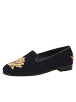 Metallic Gold Scallop on Navy Color