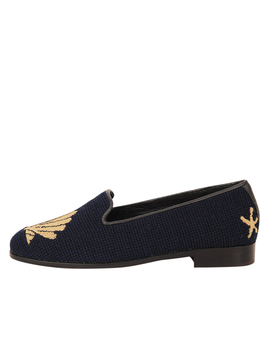 Womens Metallic Gold Scallop on Navy Needlepoint Loafer 6